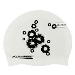 Czepek z silikonu FLOWER biało-czarny Aqua-Speed