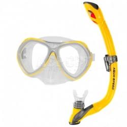 Fajka + maska nurkowa dla dzieci AURA + EVO żółta Aqua-Speed