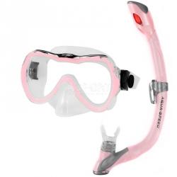 Fajka + maska nurkowa dla dzieci ENZO + EVO różowa Aqua-Speed