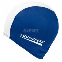 Czepek pływacki z poliestru POLYESTER CAP granatowo-biały Aqua-Speed
