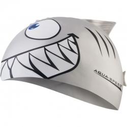 Czepek dziecięcy z nadrukiem SHARK rekin srebrny Aqua-Speed