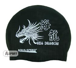 Czepek z silikonu DRAGON czarny Aqua-Speed