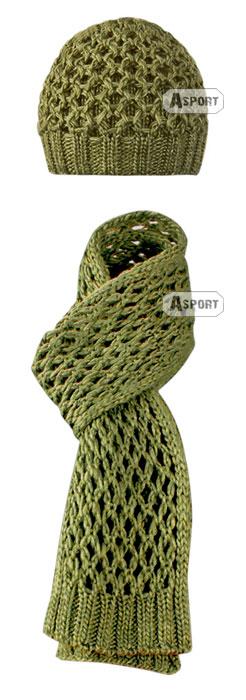 Czapka damska + szal LAURA zielony Loman