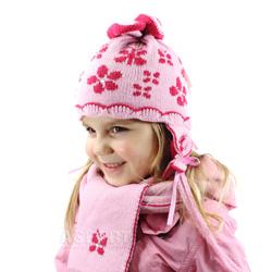 Czapka dzieci�ca, dziewcz�ca + szal, we�na 50% BUTTERFLY Loman