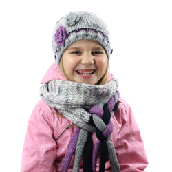 Czapka dzieci�ca + szal, we�na 50%  HOUSTON szaro-fioletowy Loman