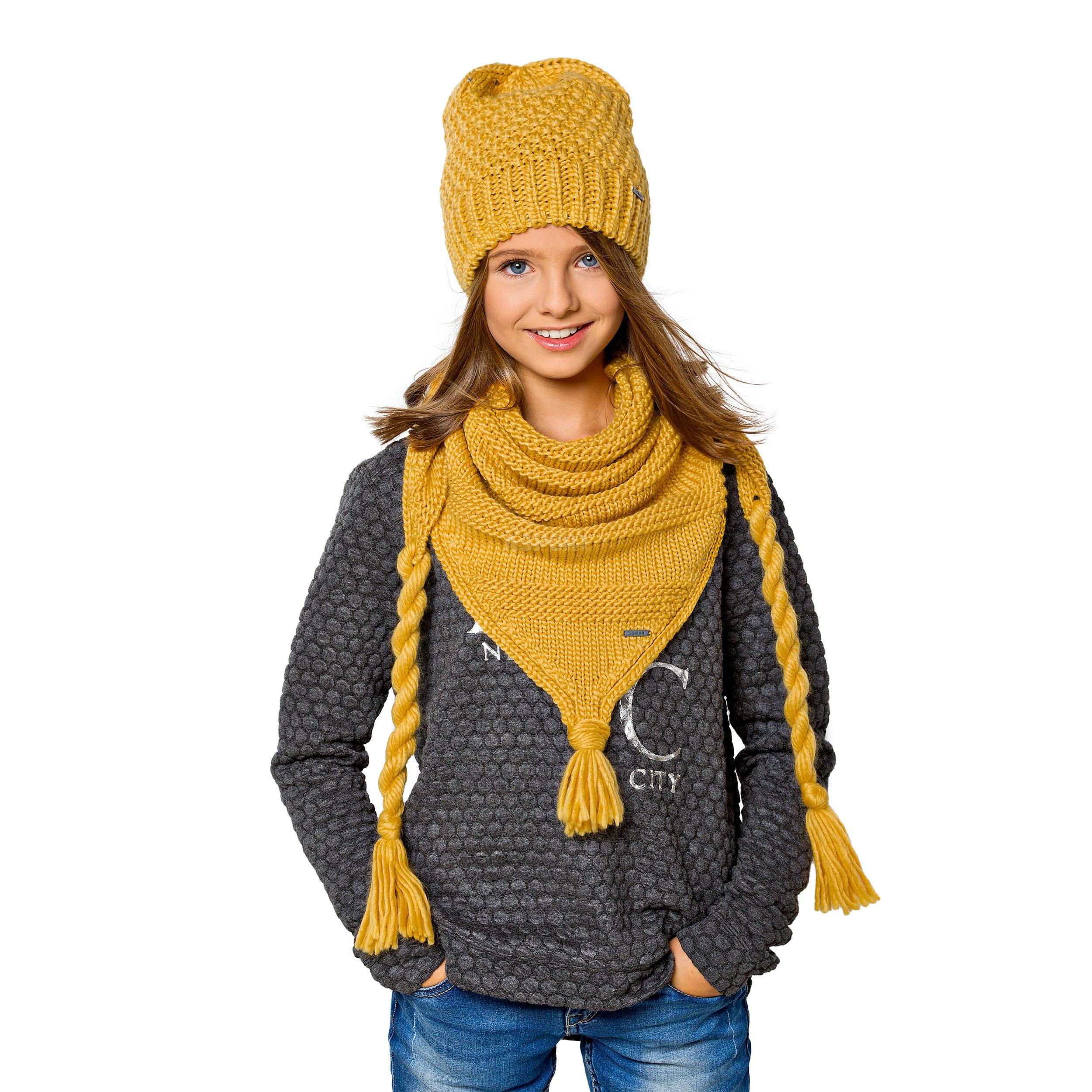 Czapka młodzieżowa, dziewczęca + szalik, chusta z dodatkiem wełny CHOCO Loman