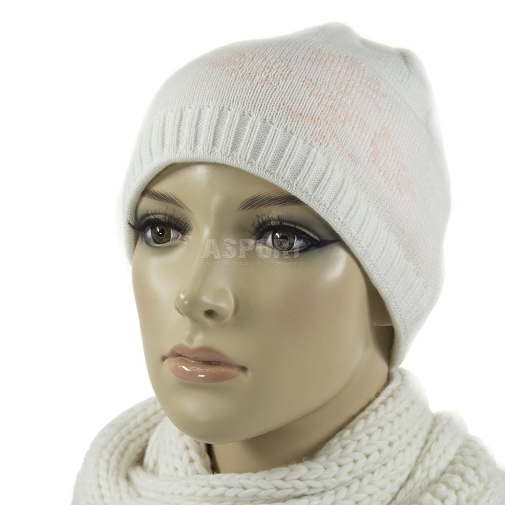Czapka damska, ocieplana polarem, wełna/akryl BREE biała Satila