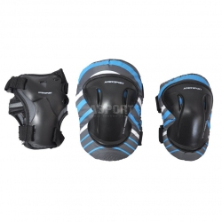 Ochraniacze dzieci�ce na nadgarstki, �okcie, kolana szaro-niebieskie Axer