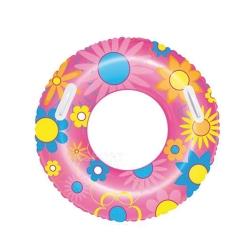 Dmuchane koło plażowe KWIATY 76 cm różowe