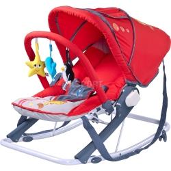 Leżaczek bujany dla niemowląt + pałąk z zabawkami + budka AQUA Caretero