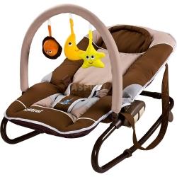 Leżaczek bujany dla niemowląt + pałąk z zabawkami ASTRAL Caretero