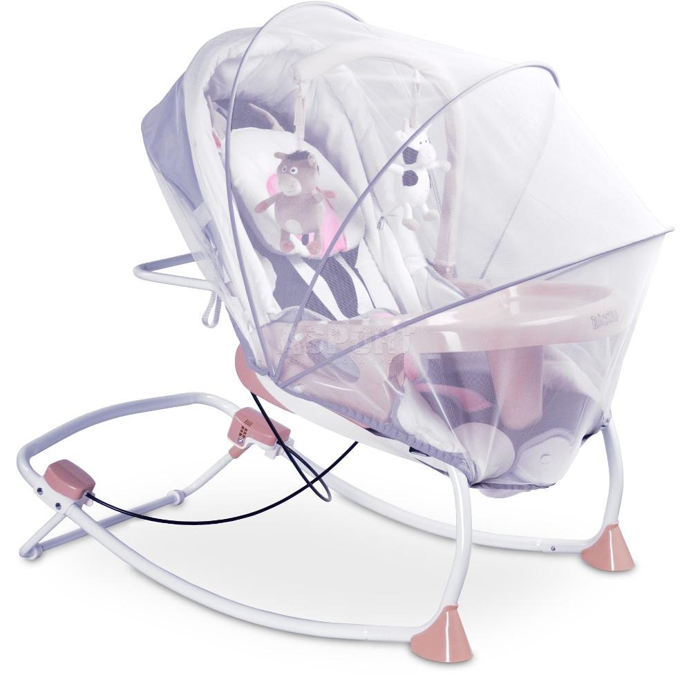 Leżaczek bujany dla niemowląt, moduł wibracji, moskitiera ...