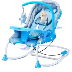 Leżaczek bujany dla niemowląt, moduł wibracji, moskitiera RANCHO Caretero