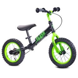 Rowerek dziecięcy, biegowy, metalowy 3-6 lat FLASH black-green Toyz