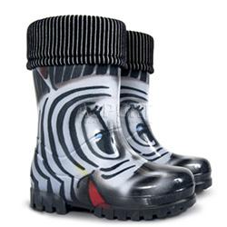 Kalosze dzieci�ce z wk�adk� ocieplaj�c� TWISTER LUX PRINT zebra Demar