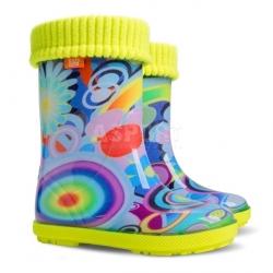 Kalosze dziecięce z wkładką ocieplającą HAWAI LUX EXCLUSIVE rainbow