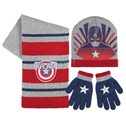 Komplet dziecięcy: czapka + rękawiczki + szalik KAPITAN AMERYKA