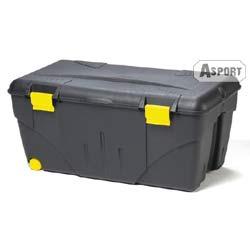 Skrzynia zewnętrzna z kółkami 110 L czarna Kamai