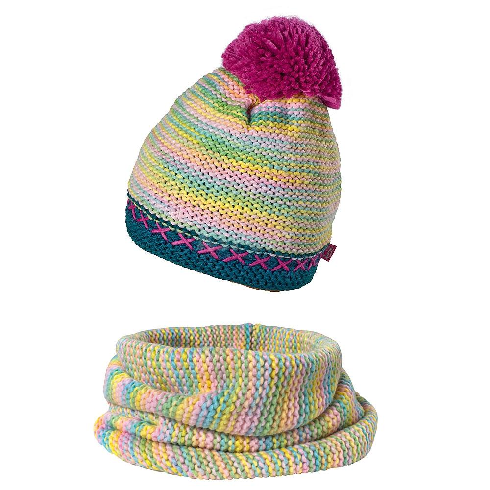 Komplet dziewczęcy, młodzieżowy: czapka + komin EXIT BIS różowy Loman