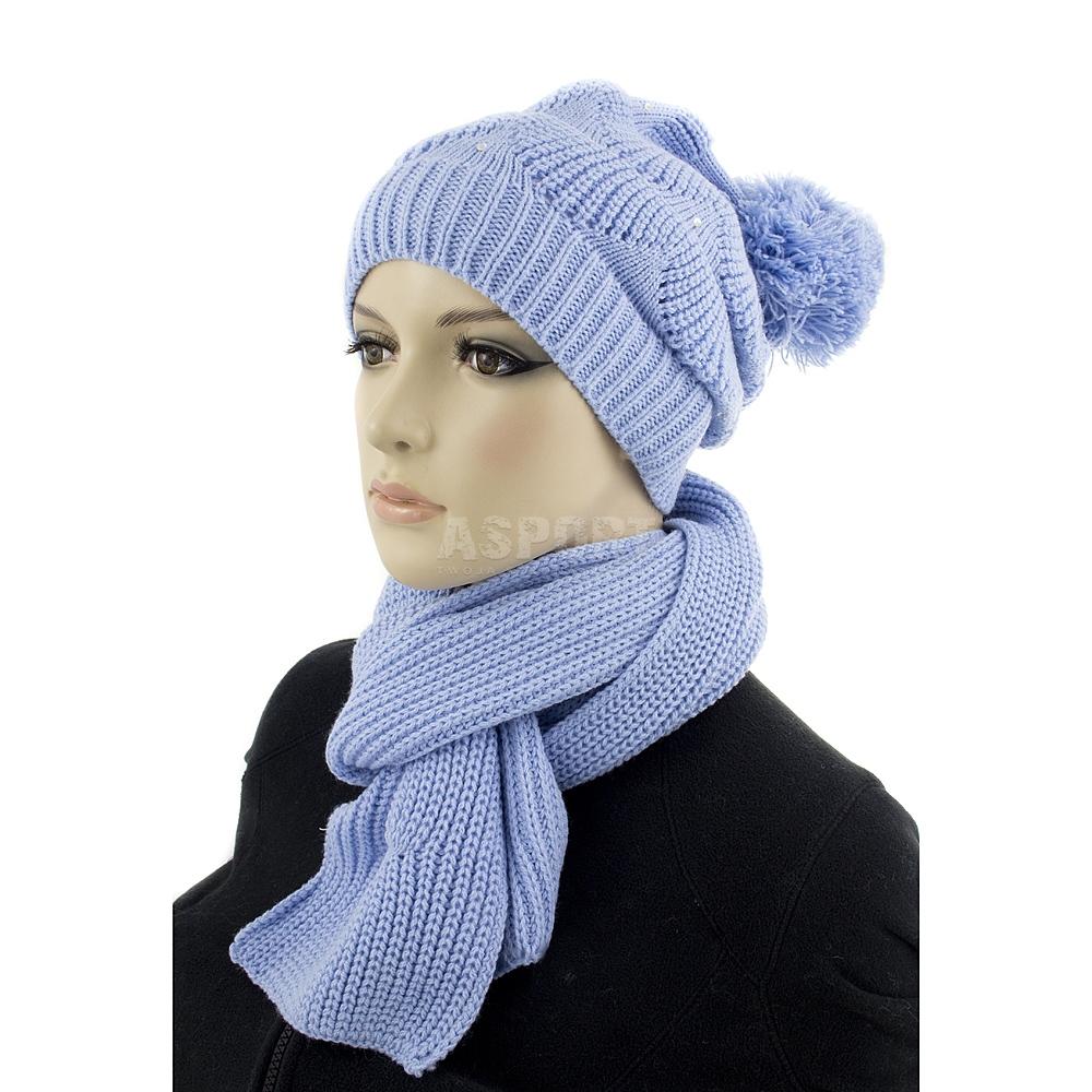 Czapka damska, młodzieżowa + szal NICOL jasnoniebieski Loman