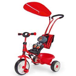 Rowerek dzieci�cy, z daszkiem, r�czk�, plecakiem BOBY DELUX RED