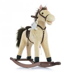 Koń na biegunach, bujany MUSTANG beżowy + miś przyjaciel Milly Mally