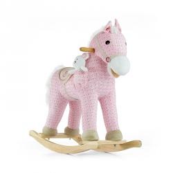 Koń na biegunach, bujany PONY różowy + miś Milly Mally
