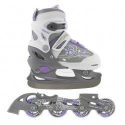 Łyżwy hokejowe + rolki regulowane, dziecięce 2w1 NH 702A SET grey/white Nils