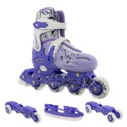 Rolki + łyżwy + wrotki 4w1, łyżworolki dziecięce NH0320A purple