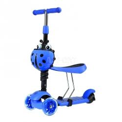 Hulajnoga 3-kołowa, jeździk 2w1 LED HLT-02 niebieska Nils Extreme