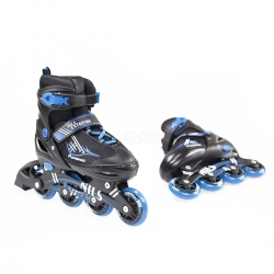 2w1: rolki + łyżwy dziecięce regulowane NH7104A czarno-niebieskie Nils
