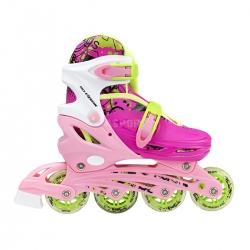 4w1: rolki, triskate, wrotki, łyżwy hokejowe, regulowane NH18330 różowe Nils