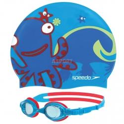 Okulary pływackie dziecięce + czepek SEA SQUAD SET blue Speedo
