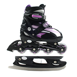 Inlineskates + Schlittschuhe, verstellbar, 2in1, Kinder,  FELO purple Spokey