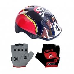 Zestaw: kask ochronny, regulowany CORSAIR + rękawiczki dziecięce PIRATE Spokey