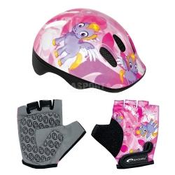 Zestaw: kask ochronny, regulowany + rękawiczki dziecięce PONY Spokey
