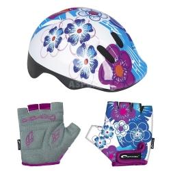 Zestaw: kask ochronny, regulowany + r�kawiczki dzieci�ce BLUE Spokey