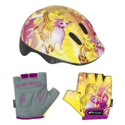 Zestaw: kask ochronny, regulowany + rękawiczki dziecięce GIRAFFE Spokey