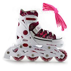 Rolki regulowane, dla dziewczynki REBEL PP white + dodatkowe sznur�wki Tempish