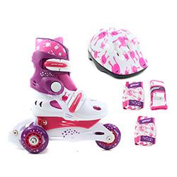 Rolki, wrotki dzieci�ce, regulowane + ochraniacze + kask UFO BABY SKATE pink