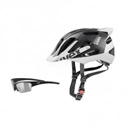 Kask ochronny, rowerowy, z daszkiem QUATRO PRO + okulary GRATIS Uvex
