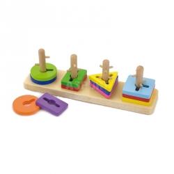 Zabawka drewniana, edukacyjna, od 18 msc KLOCKI Z SORTEREM-PUZZLE Viga