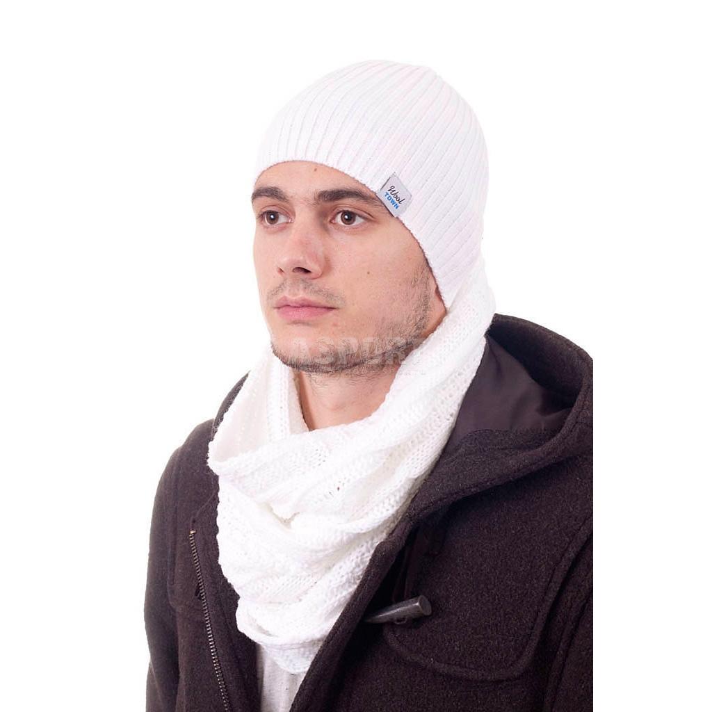 Szal, komin męski, dzianinowy, 100% akryl LARSE biały WoolTown