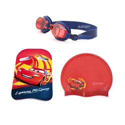 Okulary p�ywackie dzieci�ce + czepek silikonowy + deska do nauki p�ywania CARS