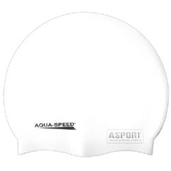 Czepek pływacki, silikonowy MEGA biały Aqua-Speed