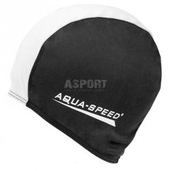 Czepek pływacki z poliestru POLYESTER CAP czarno-biały Aqua-Speed