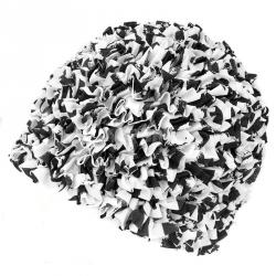 Czepek damski, poliestrowy, z podszewką RUFFLE CAP czarno-biały Aqua-Speed