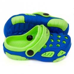Klapki dziecięce basenowe, na plażę, chodaki LIDO niebiesko-zielone Aqua-Speed