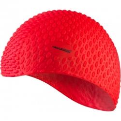 Czepek z silikonu na długie włosy BUBBLE czerwony Aqua-Speed