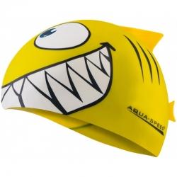 Czepek dziecięcy z nadrukiem SHARK rekin żółty Aqua-Speed